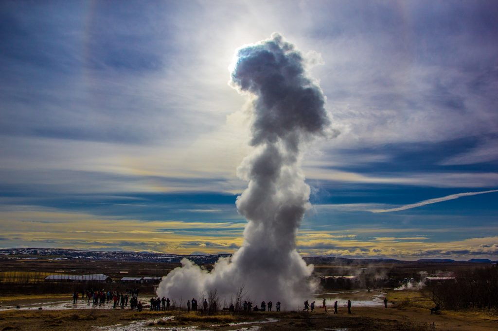 Strokkur geysir eruption in the Golden Circle Iceland