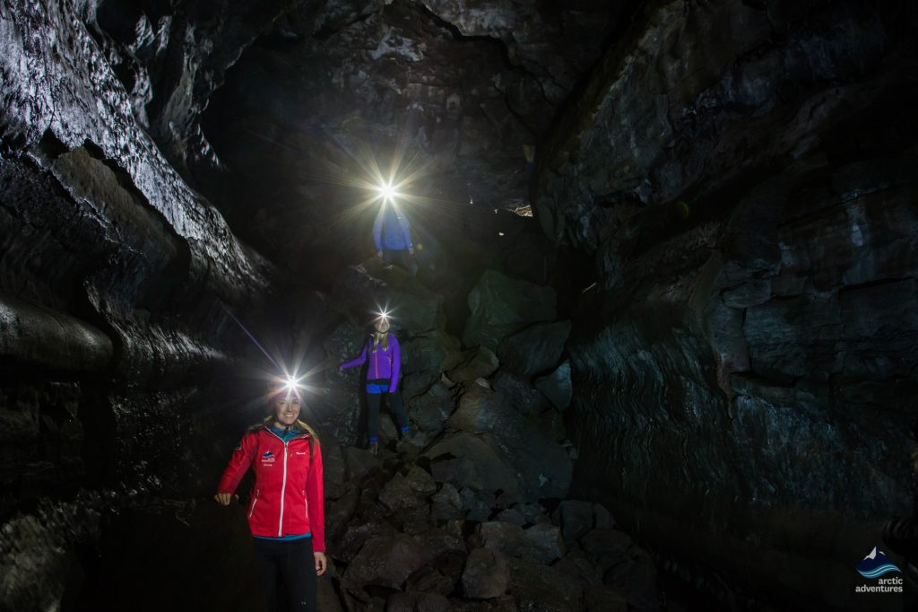 Lava tube tour in Iceland