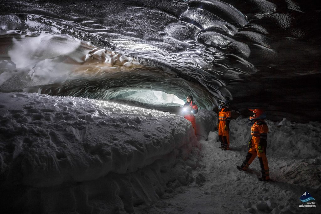 glacier ice cave on langjokull