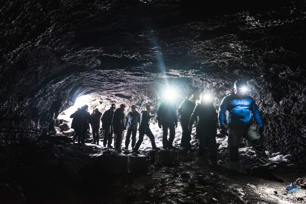 Lava tube caving tour Iceland