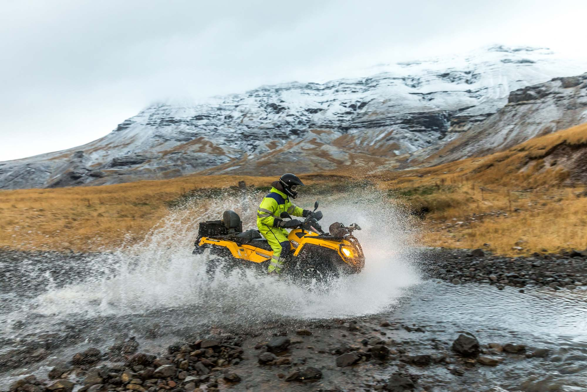ATV river playing in Iceland