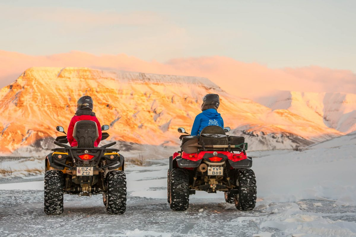Playing on an atv tour in Iceland