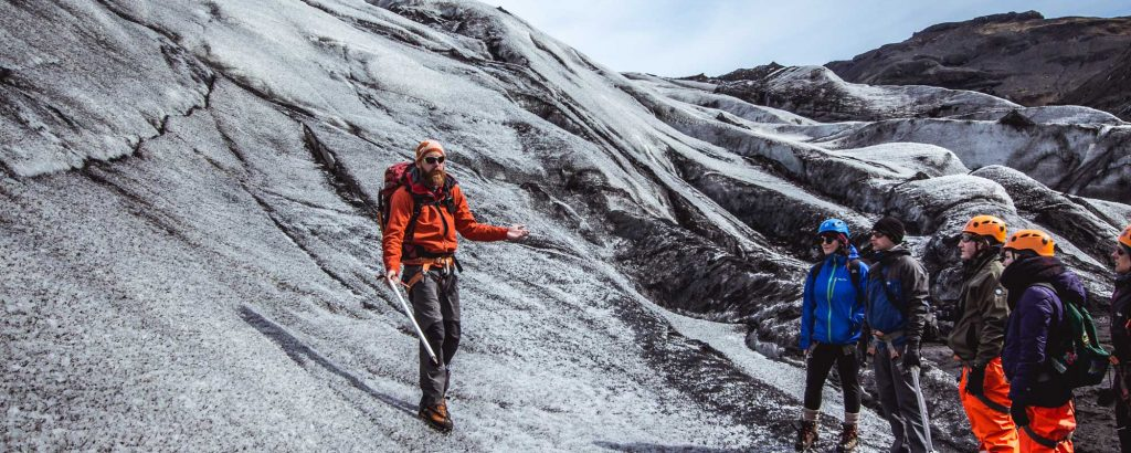 glacier hiking on solheimajokull glacier iceland