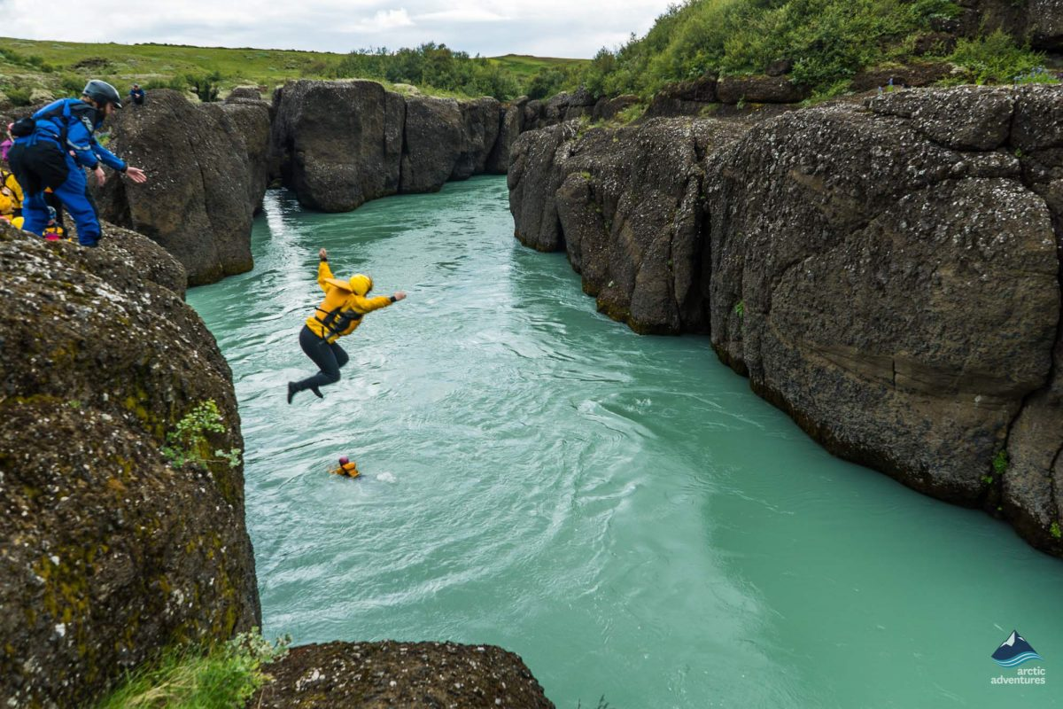 jumping on a icelandic rafting tour