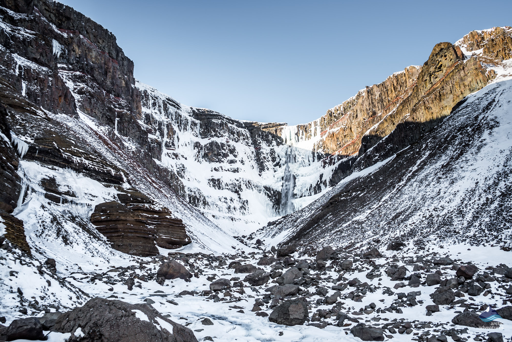Frozen hengifoss waterfsll east iceland