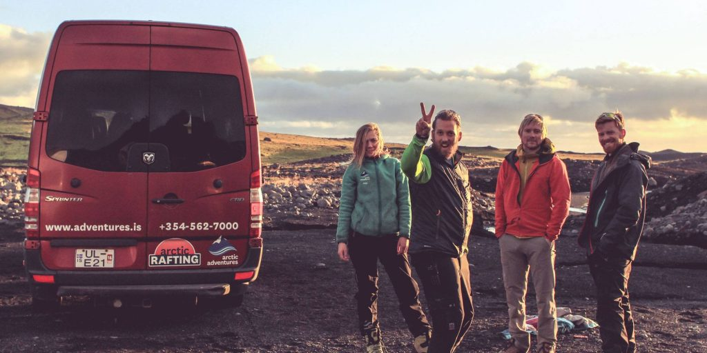 Tour guides next to Arctic Adventures Car Iceland