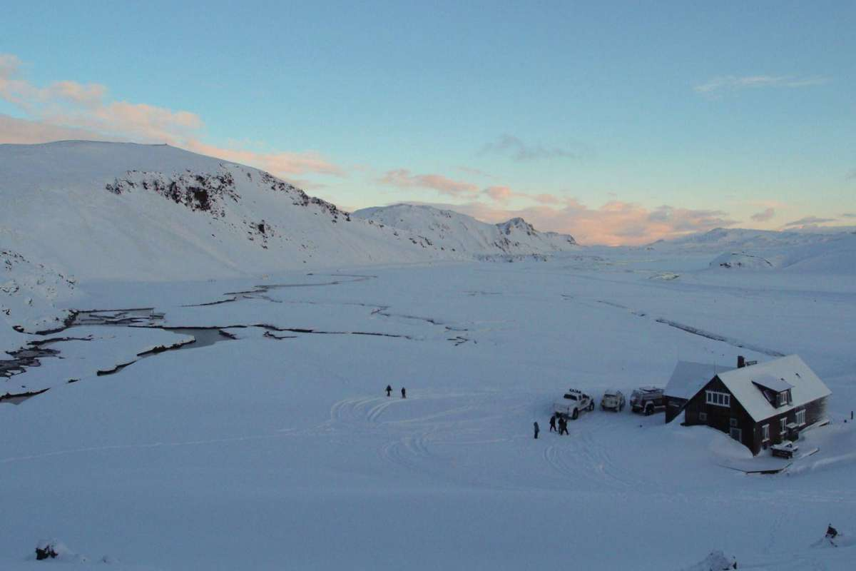 Hut in icelandic winter landscape