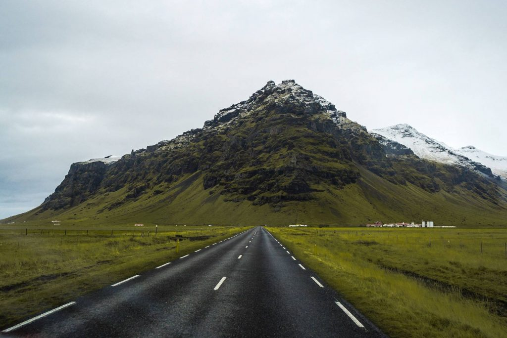 Road on the south coast of Iceland