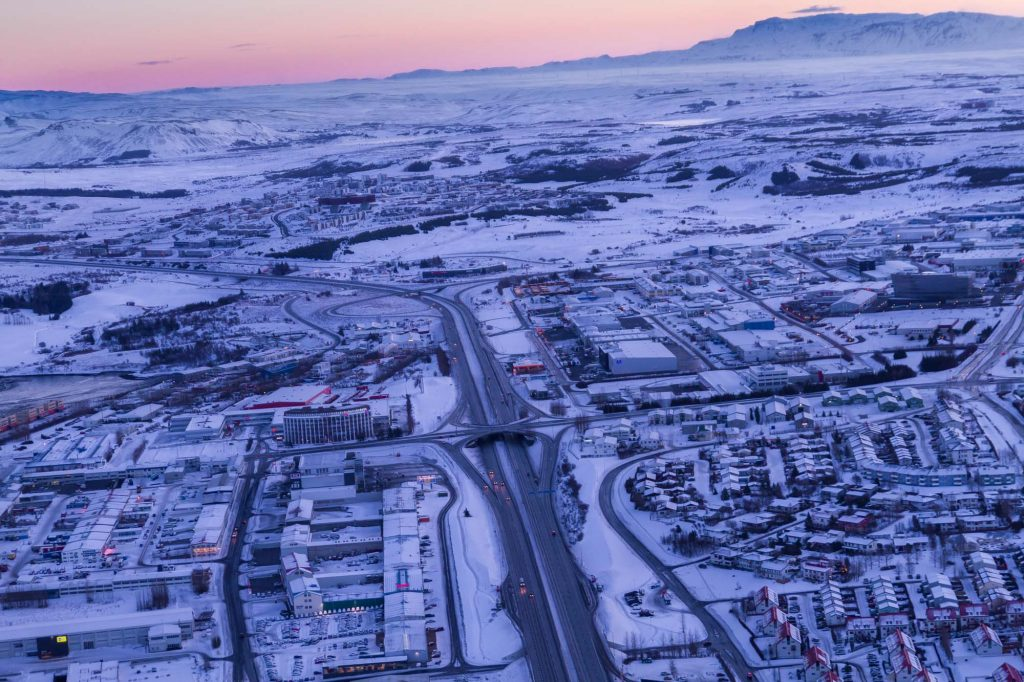 helicopter tour with winter view over reykjavik