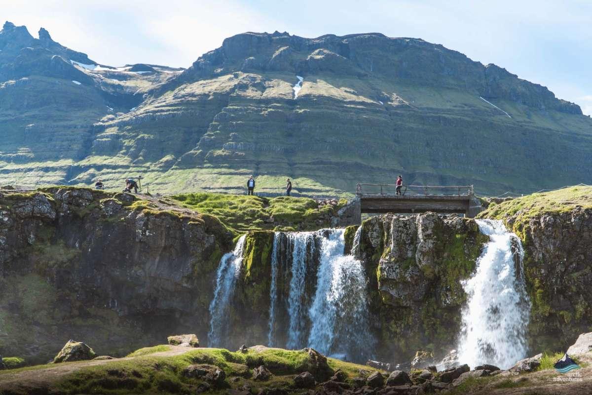 Bridge over waterfall, Snaefellsnes Iceland