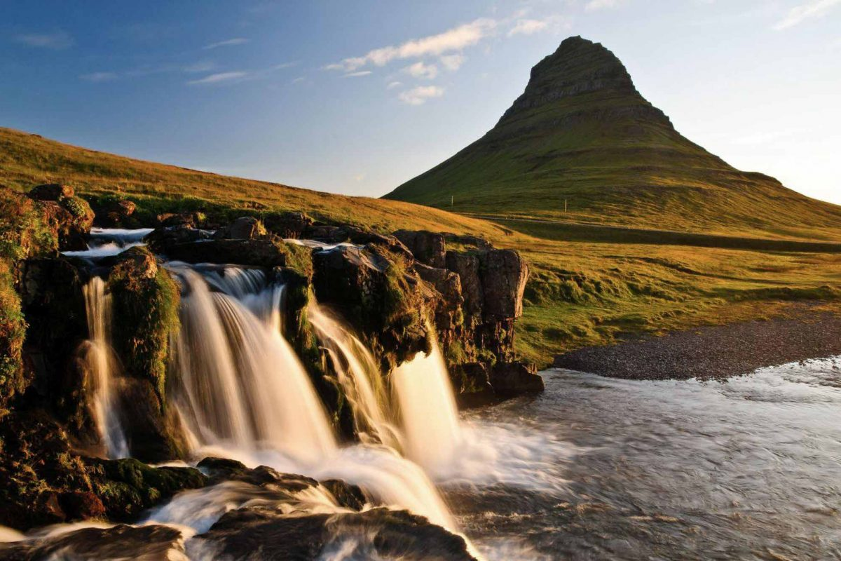 Waterfall and mt Kirkjufell, Snaefellsnes peninsula Iceland