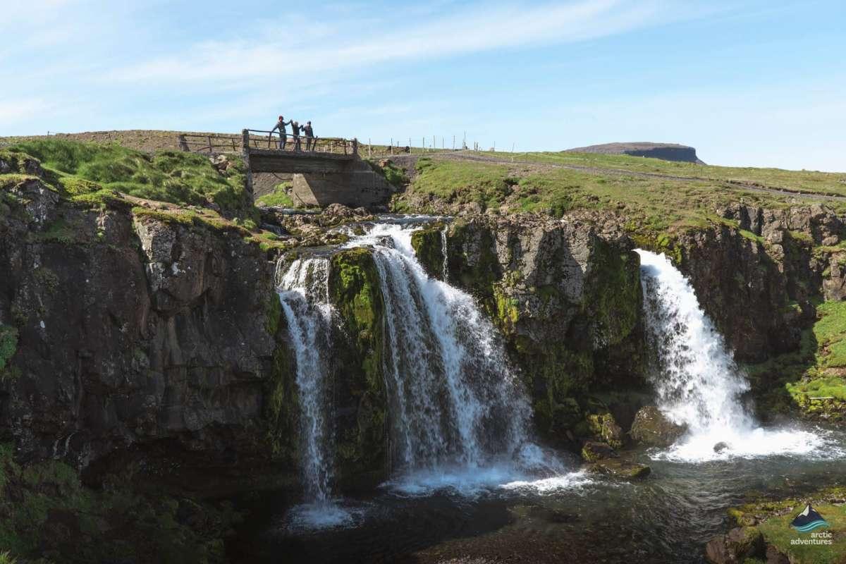 Bridge over waterfall, Snaefellsnes peninsula, Iceland