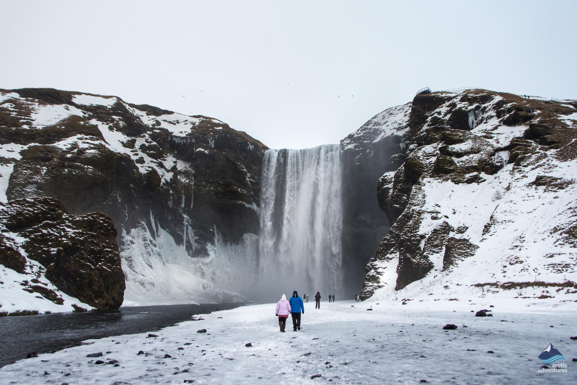 Skogafoss waterfall in winter time