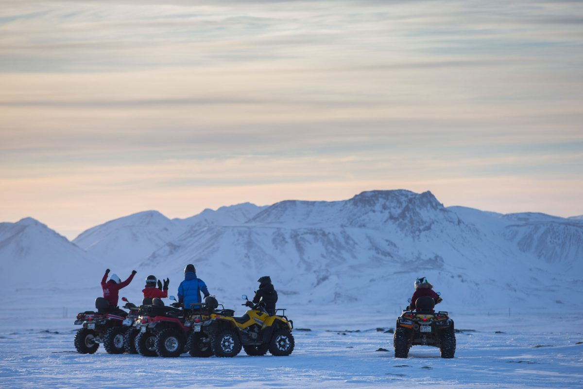 ATV mountain ride in Iceland winter