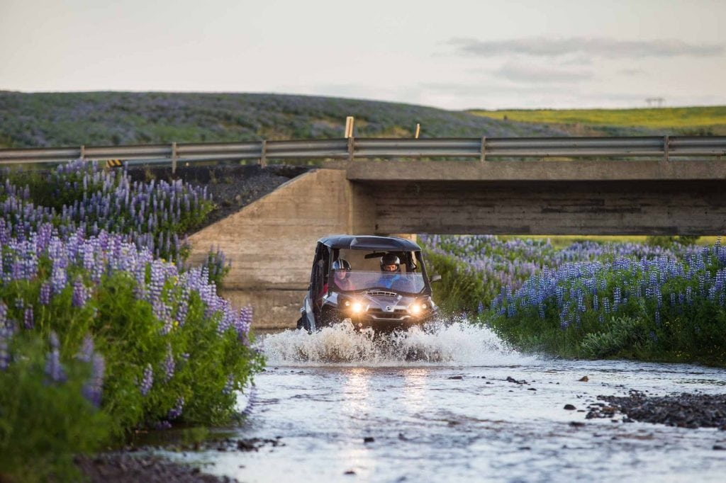 Buggy going in water Hafravatn Iceland