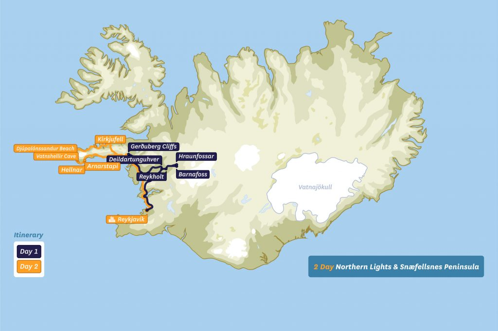 Map of Iceland - 2 Day Northern Lights & Snaefellsnes