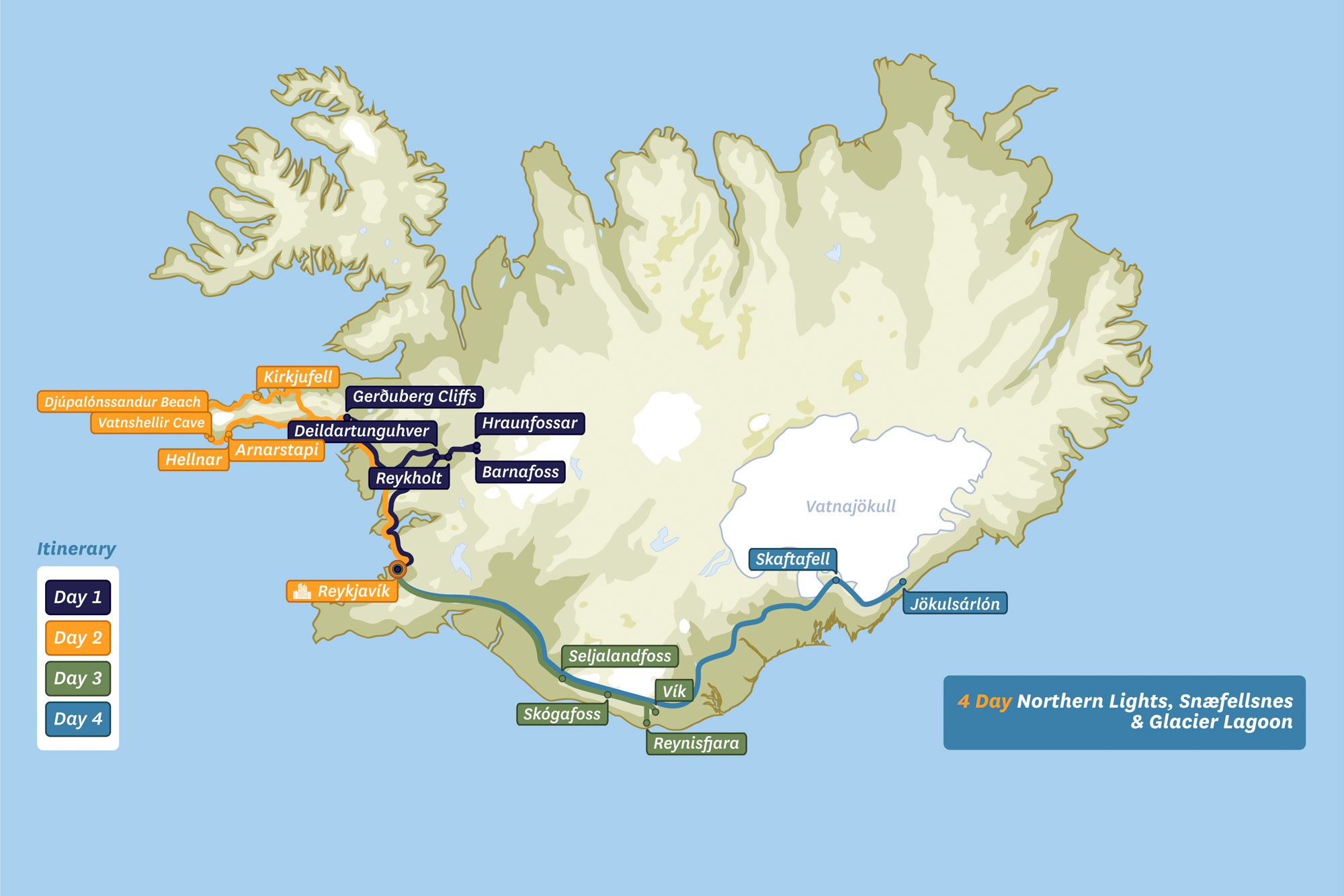 Map of Iceland -4 Day Northern Lights, Snaefellsnes & Glacier Lagoon