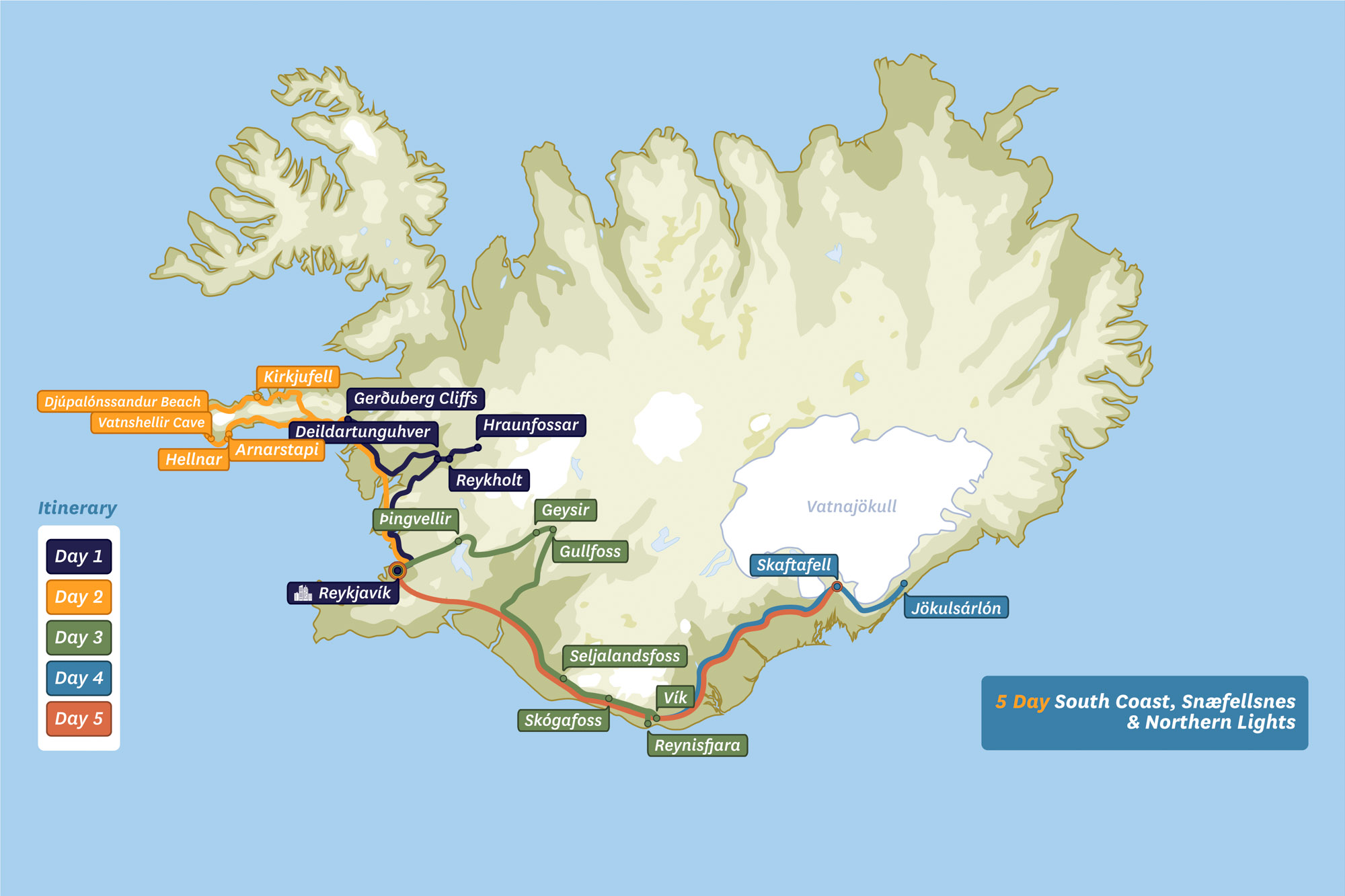 Icelands south coast tour 5 days multi day tour arctic adventures map of iceland 5 day snaefellsnes and northern lights gumiabroncs