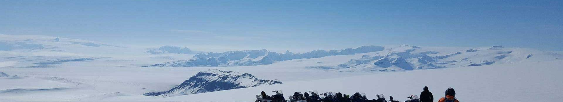 Snowmobiling tour on Vatnajokull glacier in Iceland