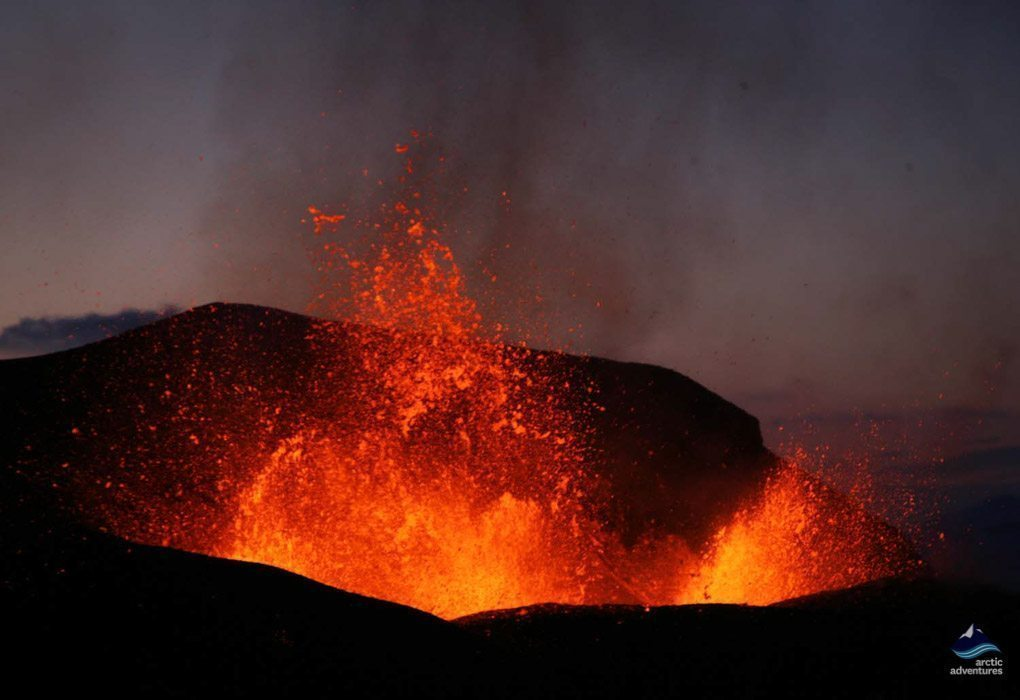 Magma spouting in Eyjafjallajokull eruption in 2010