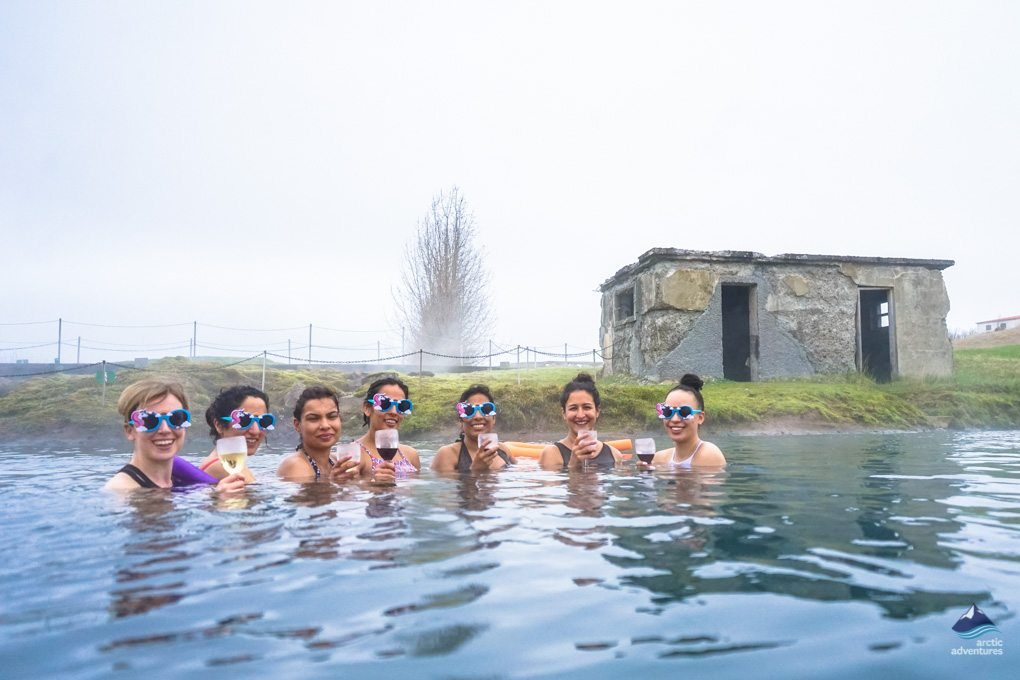Girls having fun at the Secret Lagoon Iceland