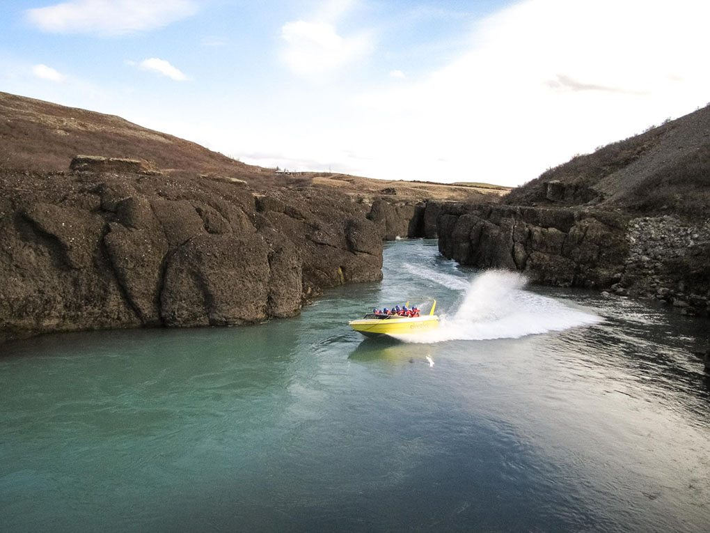 Gullfoss canyon river jet boat tour