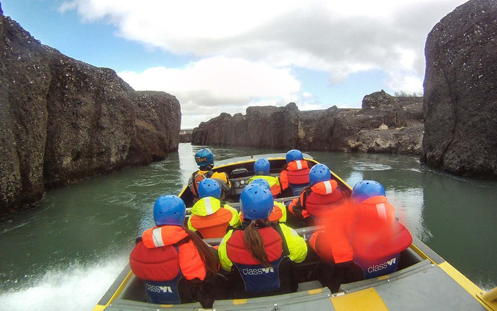 Jet Boat in Gullfoss Canyon River