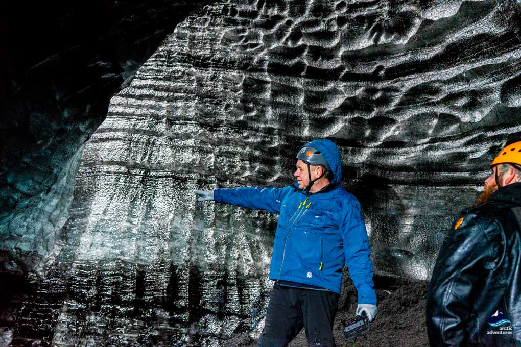 Guide explaining the Glacier's geology