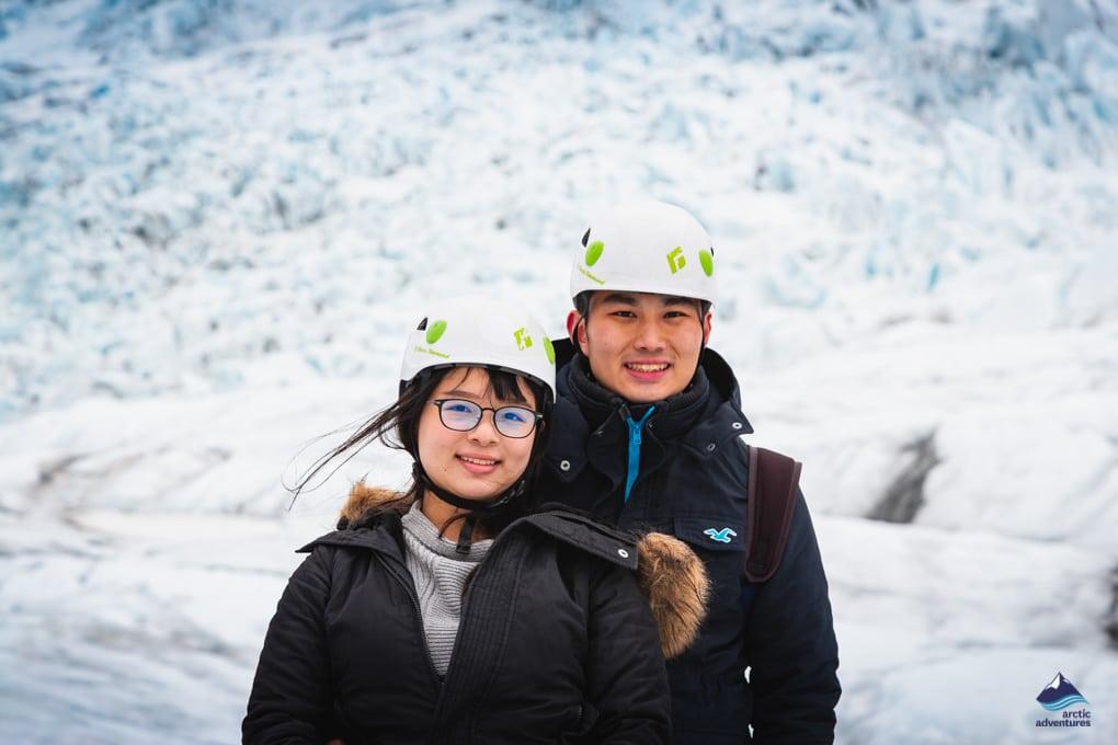Friends enjoying a Glacier hiking Tour