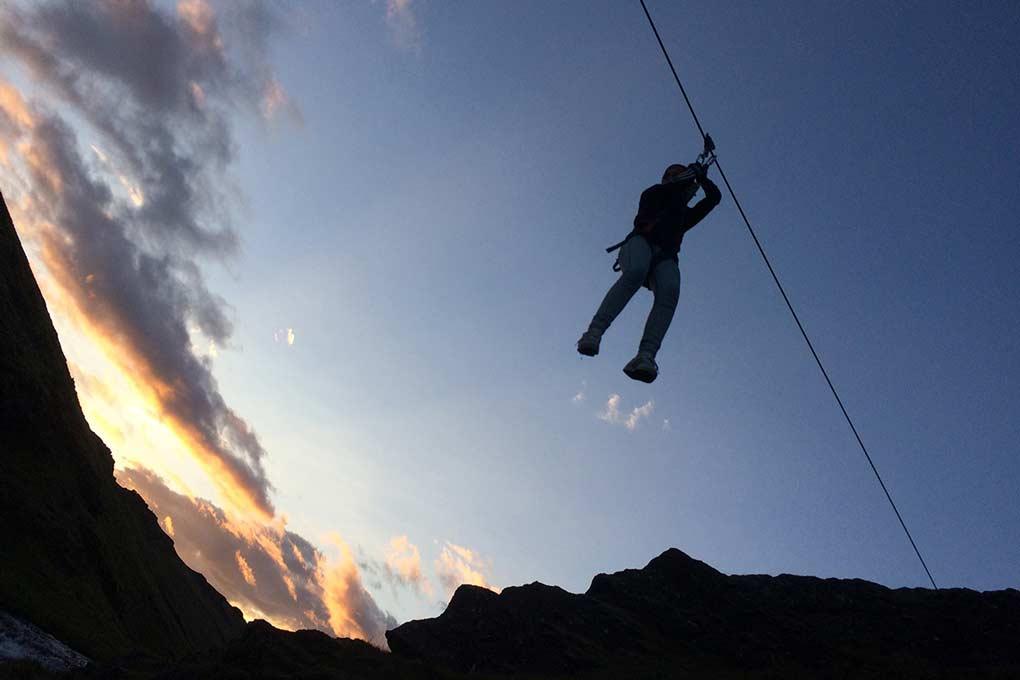 Zipline in the Midnight Sun in Iceland