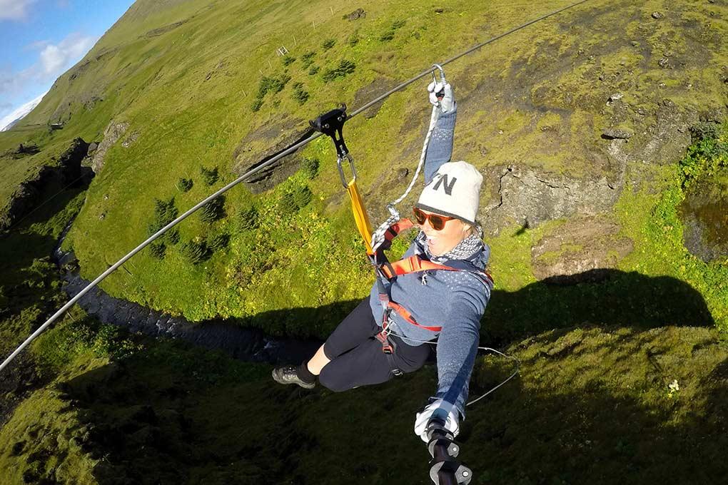 Zipline in Icelandic nature