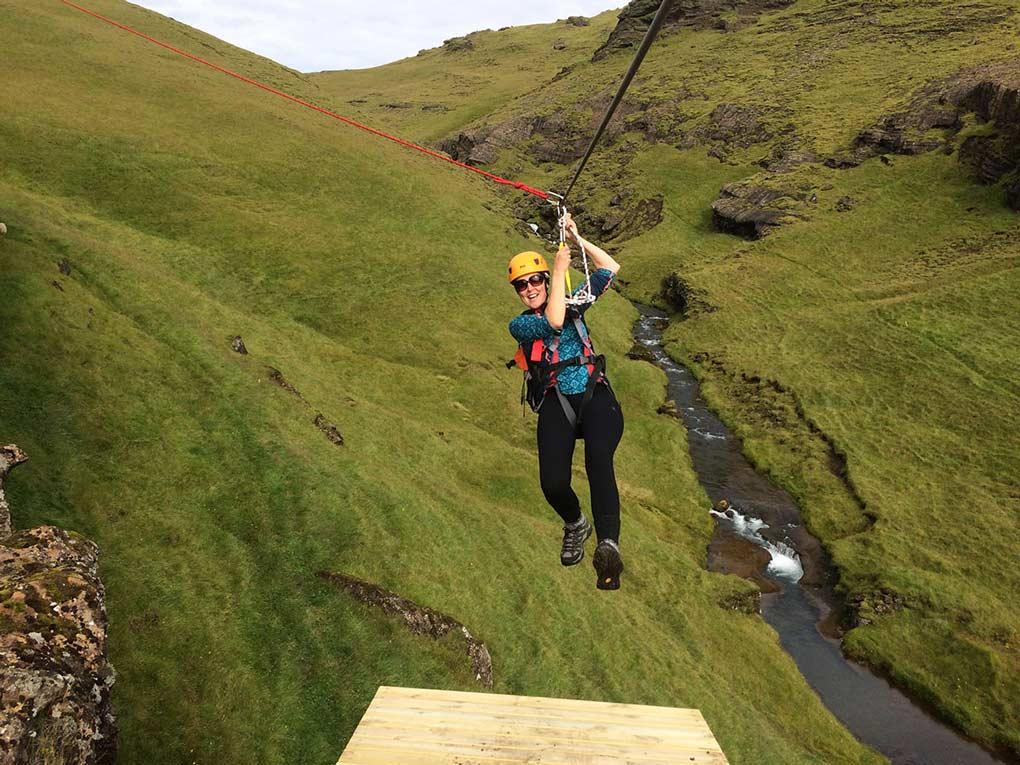 Zipline adventure South Iceland