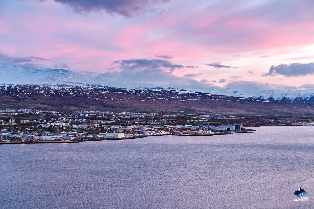 akureyri purple sunset over city
