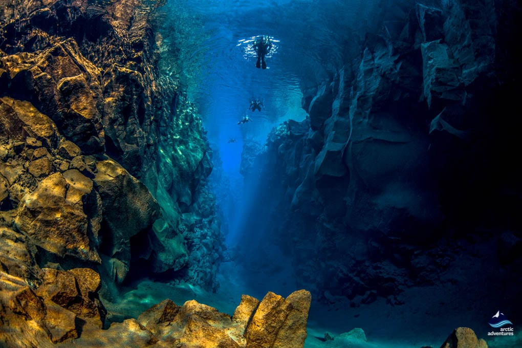 Diving between the tectonic plates in Iceland