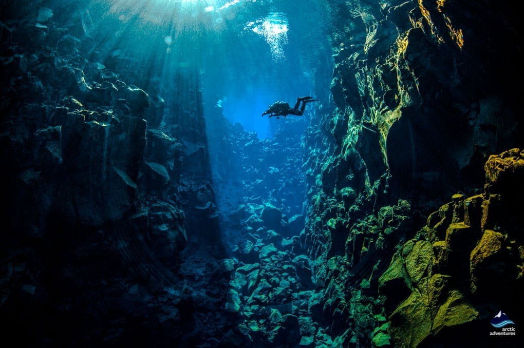 Floating in Silfra Fissure Thingvellir, Iceland