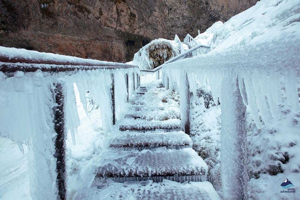 Seljalandsfoss path in winter