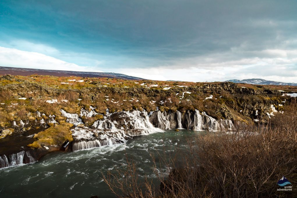 Hraunfossar Waterfall in colder weather