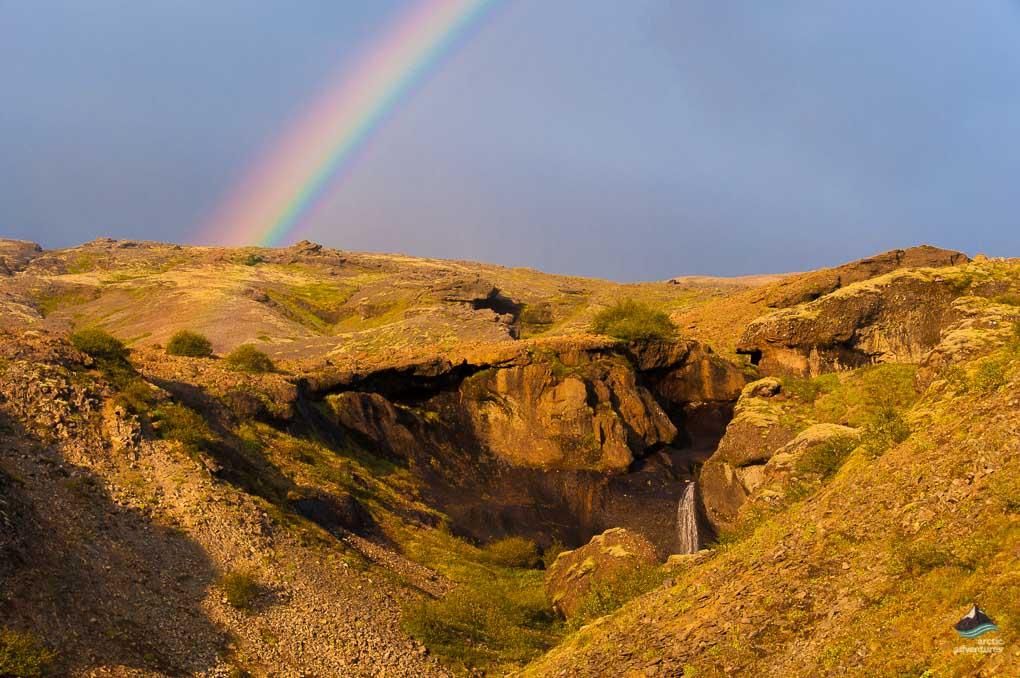single rainbow over glymur