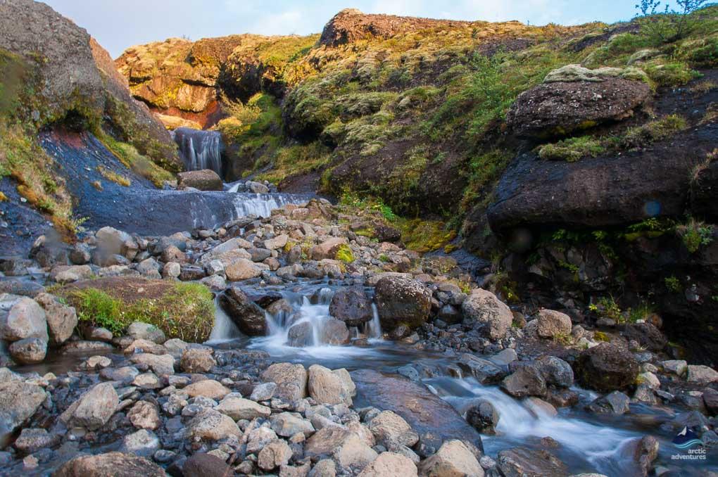 River flowing down Glymur Waterfall