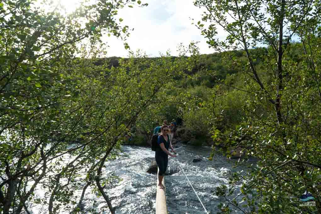 Rivercrossing on the Glymur Trail