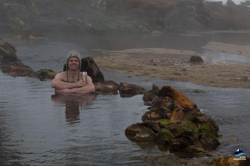 Bathing in Landmannalaugar Pool