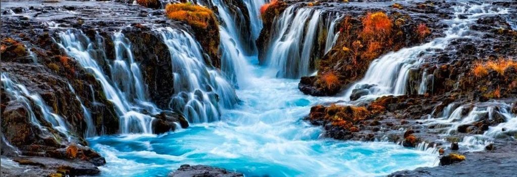 Bruarfoss the blue waterfall Iceland
