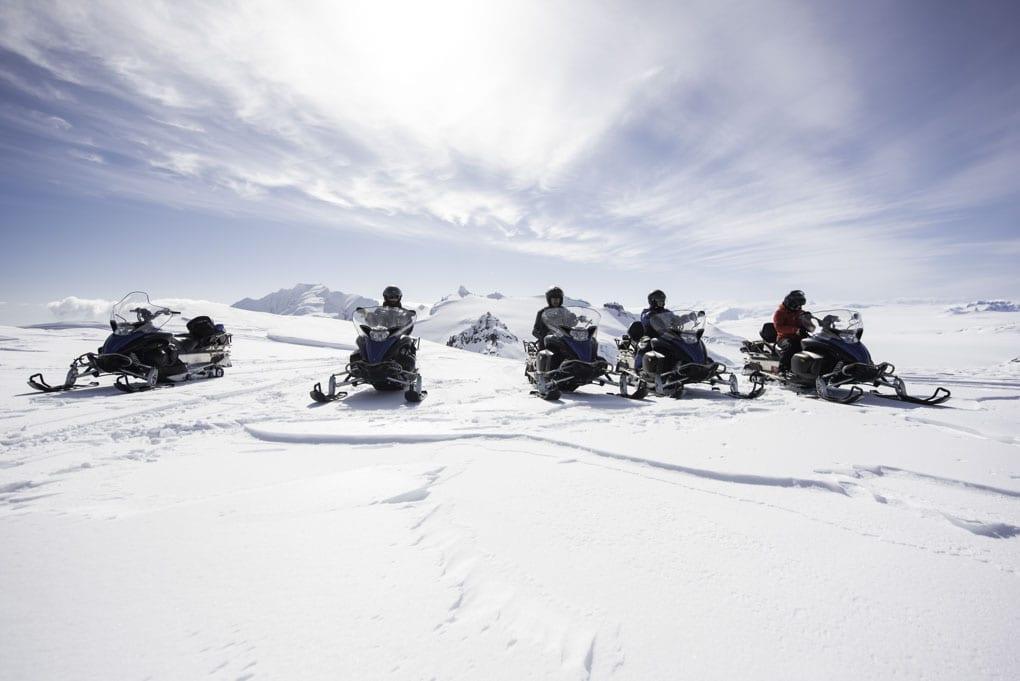Snowmobiling on Vatnajokull Iceland