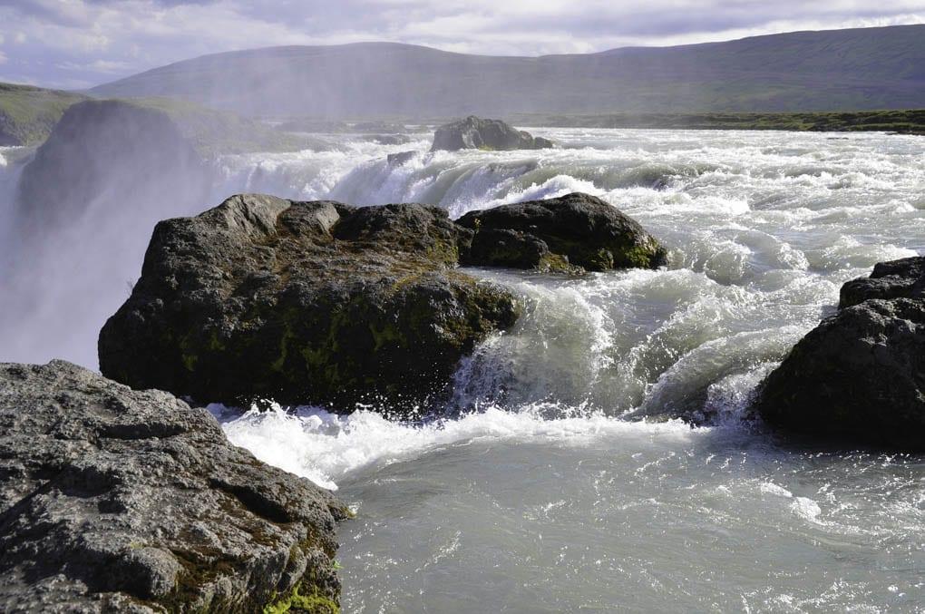 godafoss waterfall seen close