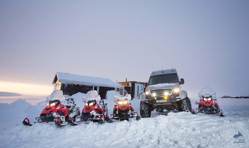 Super jeeps outside base camp