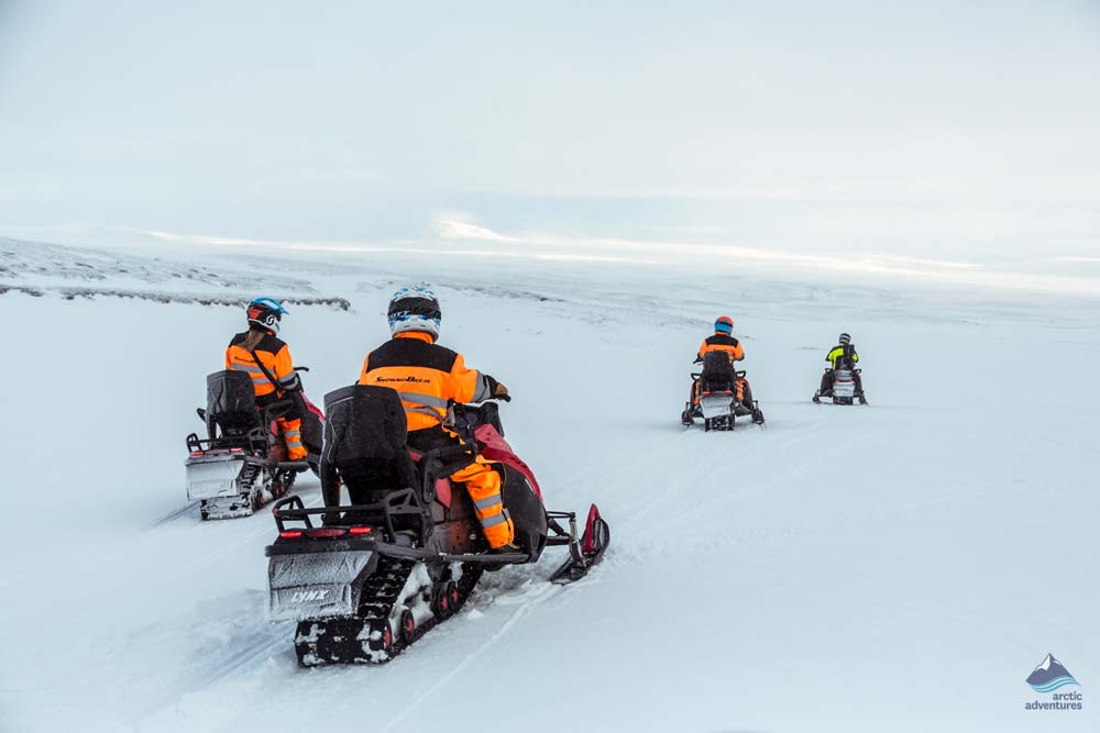 Snowmobiling over the glacier