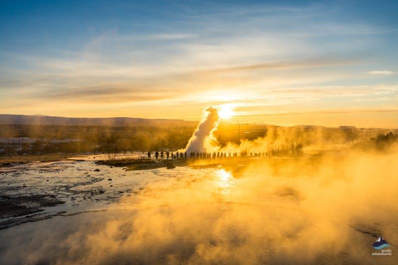 Strokkur geyser erupts