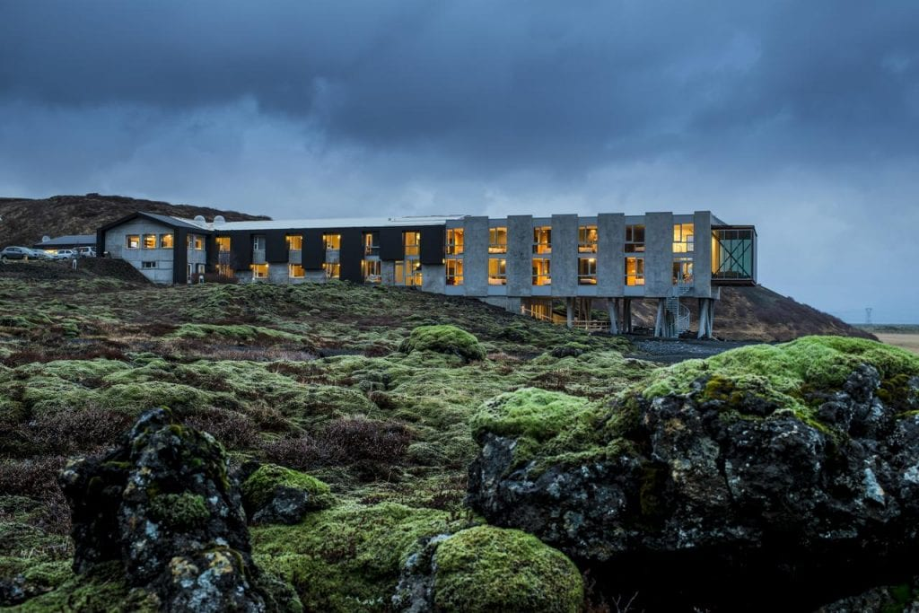 Ion Hotel in the middle of a lava field