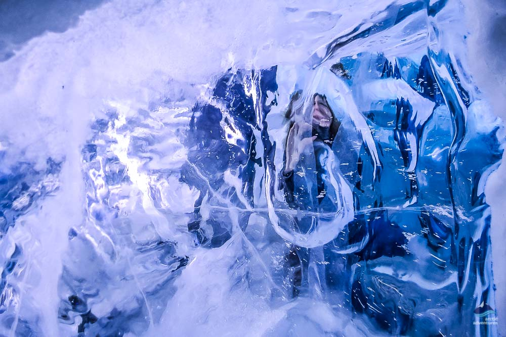 real glacial ice in ice cave in Perlan