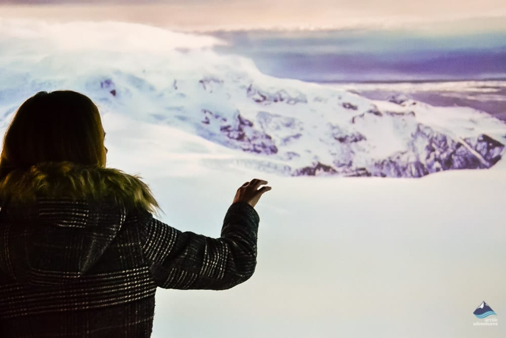 Admiring glacial activity at Perlan Exhibition